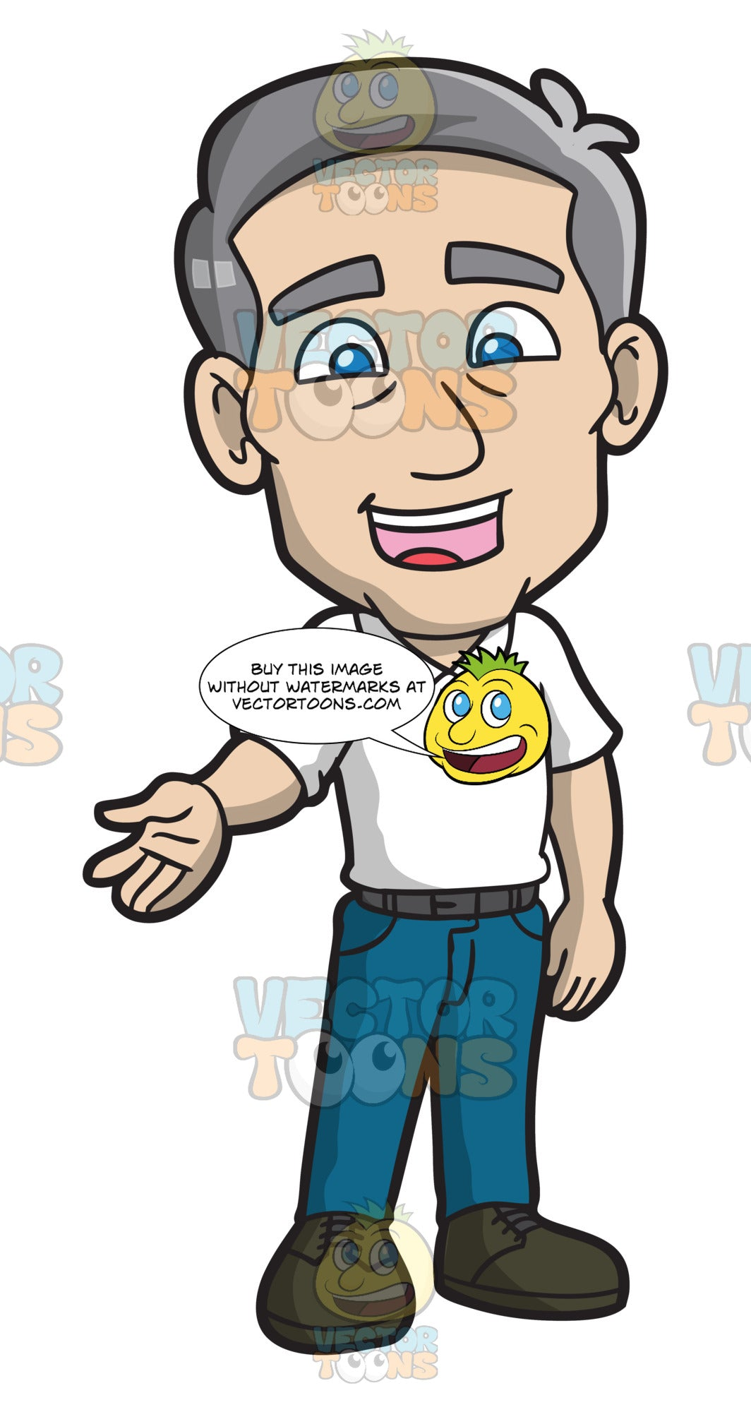 A Mature Man Charmingly Greets People – Clipart Cartoons By VectorToons