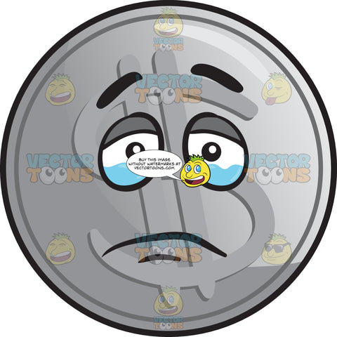 Tearful Silver Coin Emoji