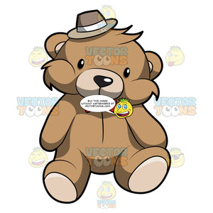 A Very Cute Brown Teddy Bear With A Hat And Red Bow