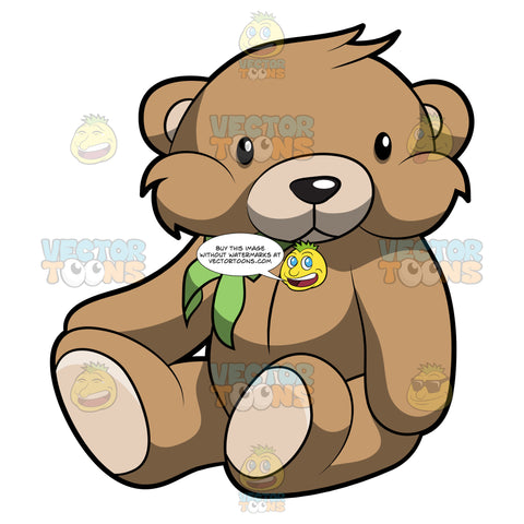 A Very Cute Brown Teddy Bear With A Green Bow