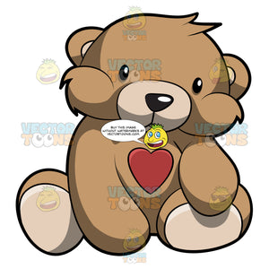 A Very Cute Brown Teddy Bear With A Red Heart