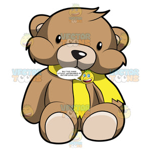 A Very Cute Brown Teddy Bear With Yellow Scarf