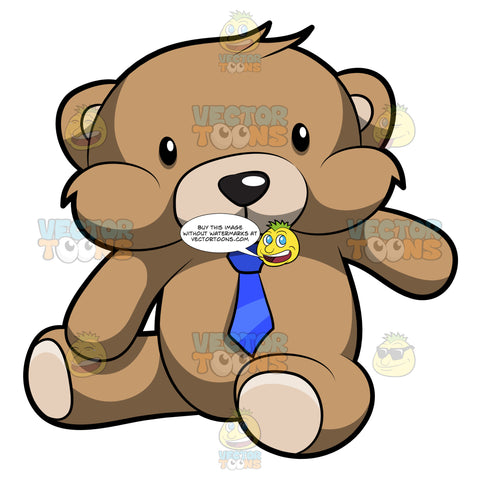 A Very Cute Brown Teddy Bear With A Blue Necktie
