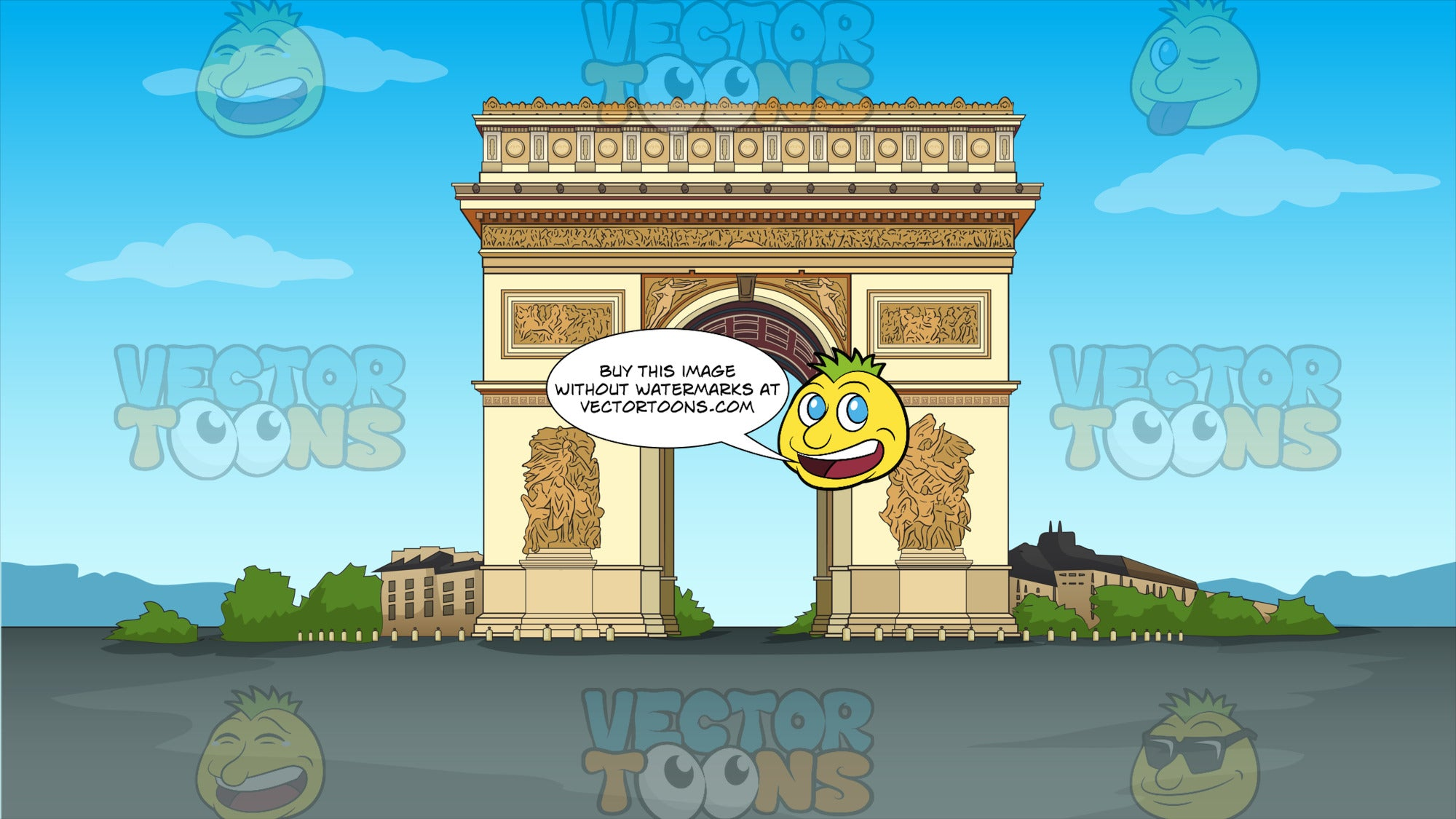 The Arc de Triomphe Background. A view of the Arc de Triomphe, one of the most famous monuments in Paris, France, which stands at the western end of the Champs-ƒlysŽes at the centre of Place Charles de Gaulle