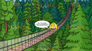 The Capilano Suspension Bridge Background. A suspension bridge spanning across the Capilano River in North Vancouver, British Columbia and surrounded by large fir trees