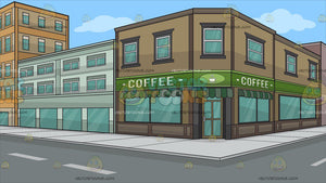 The Exterior Of A Coffee Shop Background