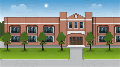 The Exterior Of A Public School Background