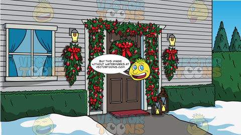 The Front Door Of A House Decorated For Christmas Background. The front door of a house with a wreath decorate with red ornaments and pine cones on the door, and garland with red ornaments and pine cones around the door frame, and wreaths hanging on the wall on either side of the door