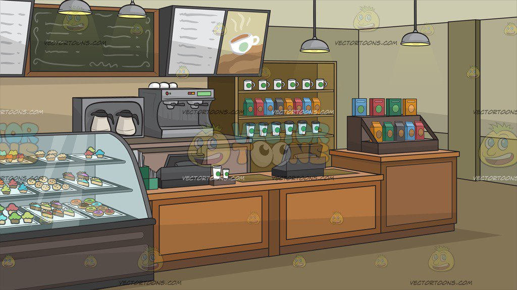 The Interior Of A Coffee Shop Background Clipart