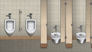 The Interior Of A Men's Public Bathroom Background