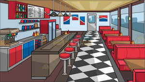 The Interior Of A Soda Shop Background
