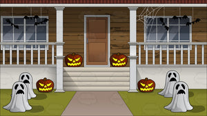 The Outside Of A House Decorated For Halloween Background