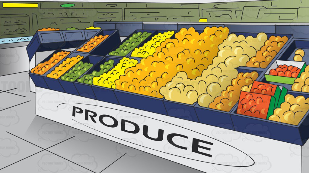 The Produce Section Of A Grocery Store Background Clipart Cartoons By Vectortoons