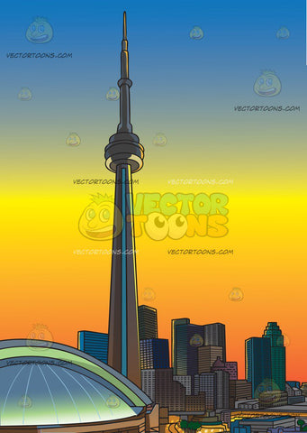 The Toronto Skyline At Sunset Background