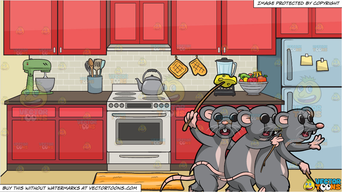 Three Blind Mice and A Stove In The Kitchen Background