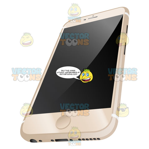 Three Point Perspective Vector Image Of Sleek Champagne Colored Mobile Phone