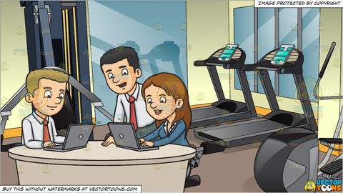 Three Work Colleagues Typing A Report and Inside A Small Fitness Center Background