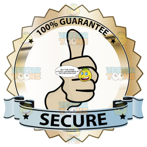 Thumbs Up Signal In Center Of Gold Badge With 100 Percent Guarantee In Border And Secure On Blue Ribbon Scroll