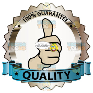 Thumbs Up Sign In Center Of Bronze Badge With 100 Percent Guarantee In Border And 'Quality' On Blue Ribbon Scroll