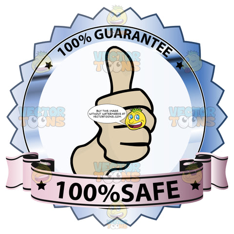 Fist With Thumbs Up In Center Of Blue Reflective Badge With '100 Percent Guarantee' In Border And '100 Percent Safe' On Purple Gradient Ribbon Scroll