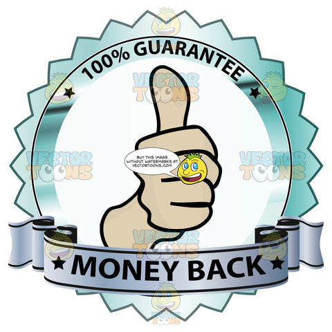Thumbs Up Sign In Center Of Metallic Silver Badge With 100 Percent Guarantee In Border And Money Back On Purple Gradient Ribbon Scroll