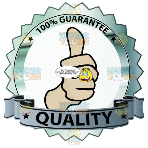 Thumbs Up Sign In Center Of Steel Colored Badge With 100 Percent Guarantee In Border And 'Quality' On Grey Blue Gradient Ribbon Scroll