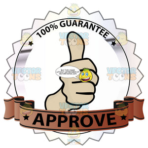 Thumbs Up Sign In Center Of Lavender Metallic Badge With 100 Percent Guarantee In Border And 'Approve' On Burnt Red Gradient Ribbon Scroll