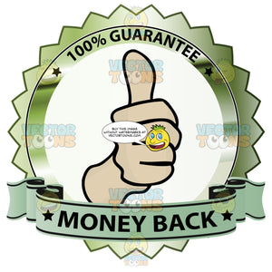 Thumbs Up Sign In Center Of Olive Green Metallic Badge With 100 Percent Guarantee In Border And Money Back On Green Ribbon Scroll