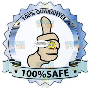 Thumbs Up Sign In Center Of Steel Colored Metallic Badge With 100 Percent Guarantee In Border And '100 Percent Safe' On Blue Ribbon Scroll