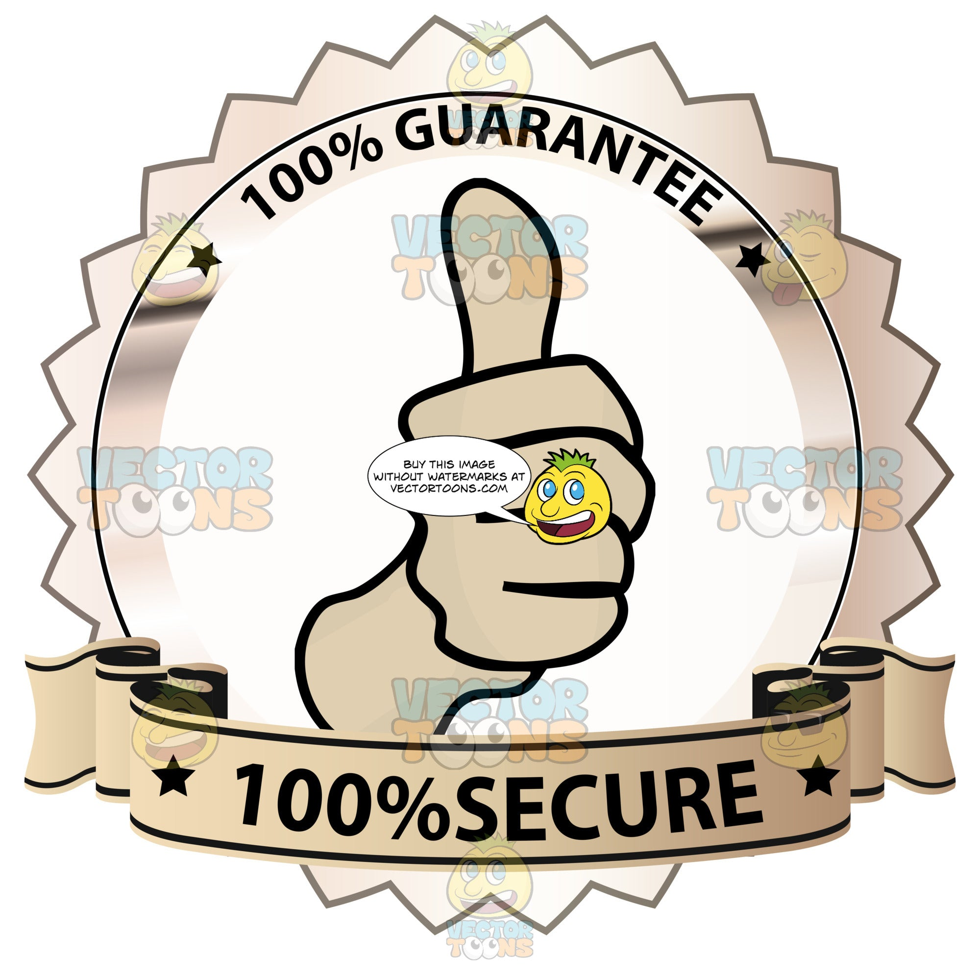 Thumbs Up Sign In Center Of Bronze Metallic Badge With 100 Percent Guarantee In Border And '100 Percent Secure' On Light Orange Gradient Ribbon Scroll