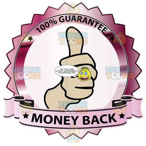 Thumbs Up Sign In Center Of Hot Pink Metallic Badge With 100 Percent Guarantee In Border And 'Money Back' On Light Pink Ribbon Scroll