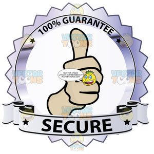 Thumbs Up Sign In Center Of Steel Grey Metallic Badge With 100 Percent Guarantee In Border And 'Secure' On Light Grey Ribbon Scroll