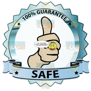 Thumbs Up Sign In Center Of Green Metallic Badge With 100 Percent Guarantee In Border And 'Safe' On Blue Ribbon Scroll