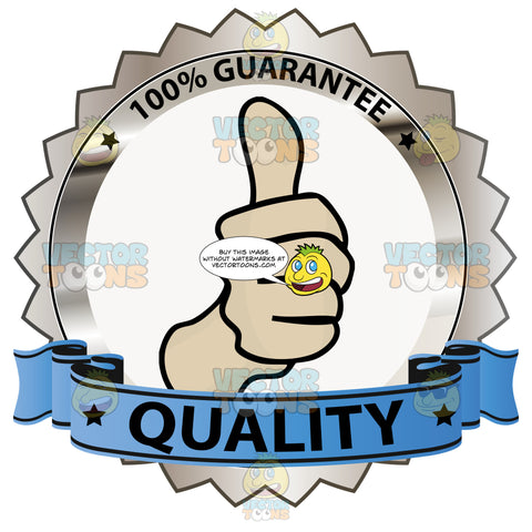Thumbs Up Sign In Center Of Copper Metallic Badge With 100 Percent Guarantee In Border And 'Quality' On Blue Ribbon Scroll