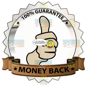 Thumbs Up Sign In Center Of Silver Metallic Badge With 100 Percent Guarantee In Border And 'Money Back' On Brown Ribbon Scroll