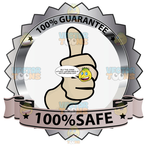 Thumbs Up Sign In Center Of Grey Steel Metallic Badge With 100 Percent Guarantee In Border And '100 Percent Safe' On Lavender Ribbon Scroll