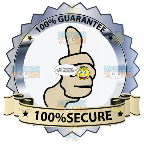 Thumbs Up Sign In Center Of Gray Steel Metallic Badge With 100 Percent Guarantee In Border And 100 Percent Secure On Yellow Ribbon Scroll