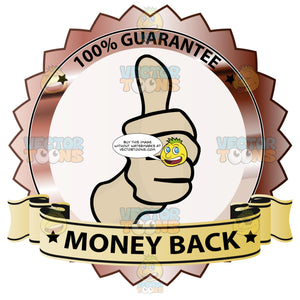 Thumbs Up Sign In Center Of Rusty Red Metallic Badge With 100 Percent Guarantee In Border And 'Money Back' On Yellow Gradient Ribbon Scroll