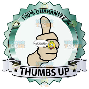 Thumbs Up Sign In Center Of Green Metallic Badge With 100 Percent Guarantee In Border And Thumbs Up On Blue Ribbon Scroll