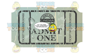 Distressed Old Green Paper Movie Cinema Ticket Admit One With Water Droplets