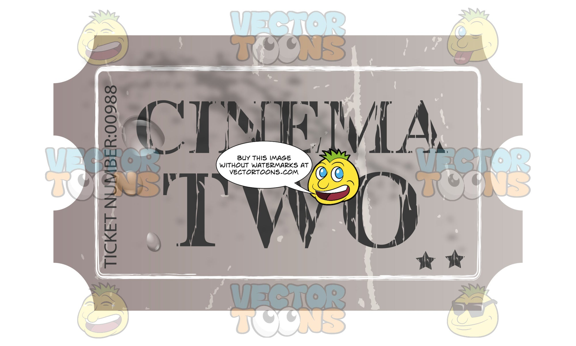 Grungy Grey Cinema Movie Ticket With Creases, Admit Two