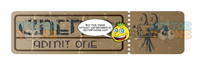 Worn Full Untorn, Unused Movie Ticket Brown Paper With Film Camera Image