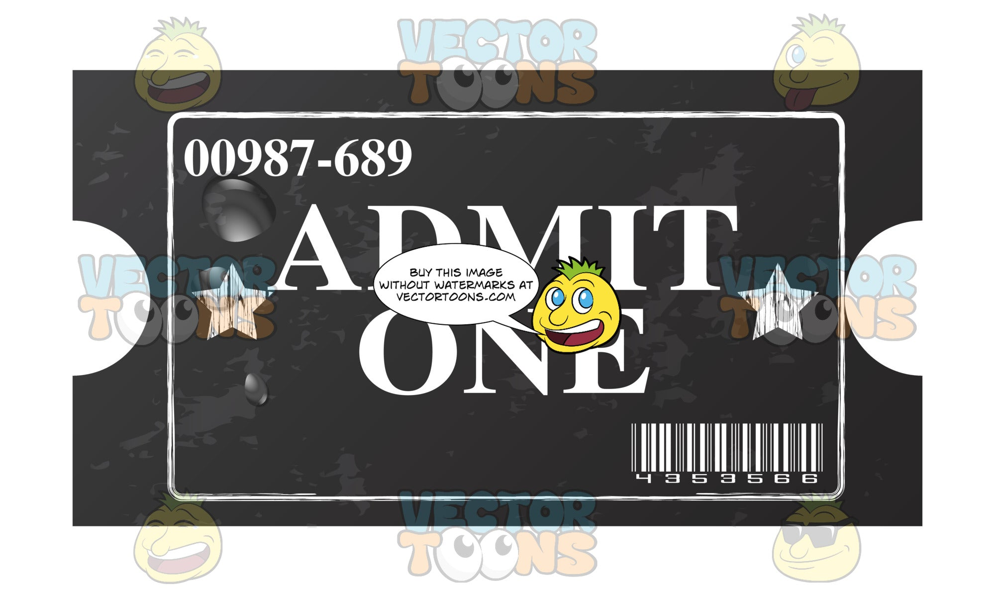 Worn Black Paper Entry Ticket With White 'Admit One' Type On It And Stars