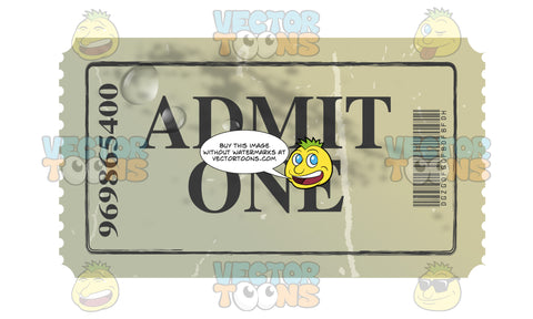 Green Worn Admit One Admission Ticket With Water Drops
