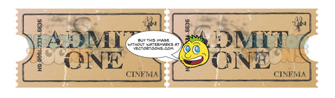 Two Brown Attached Cinema Movie Tickets, Brown Paper, Admit One