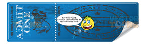 Blue Unused Worn Theater Ticket With Happy And Sad Theater Faces, Admit One, Curled Corner