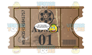 Worn Admit One Movie Ticket With Film Reel On It