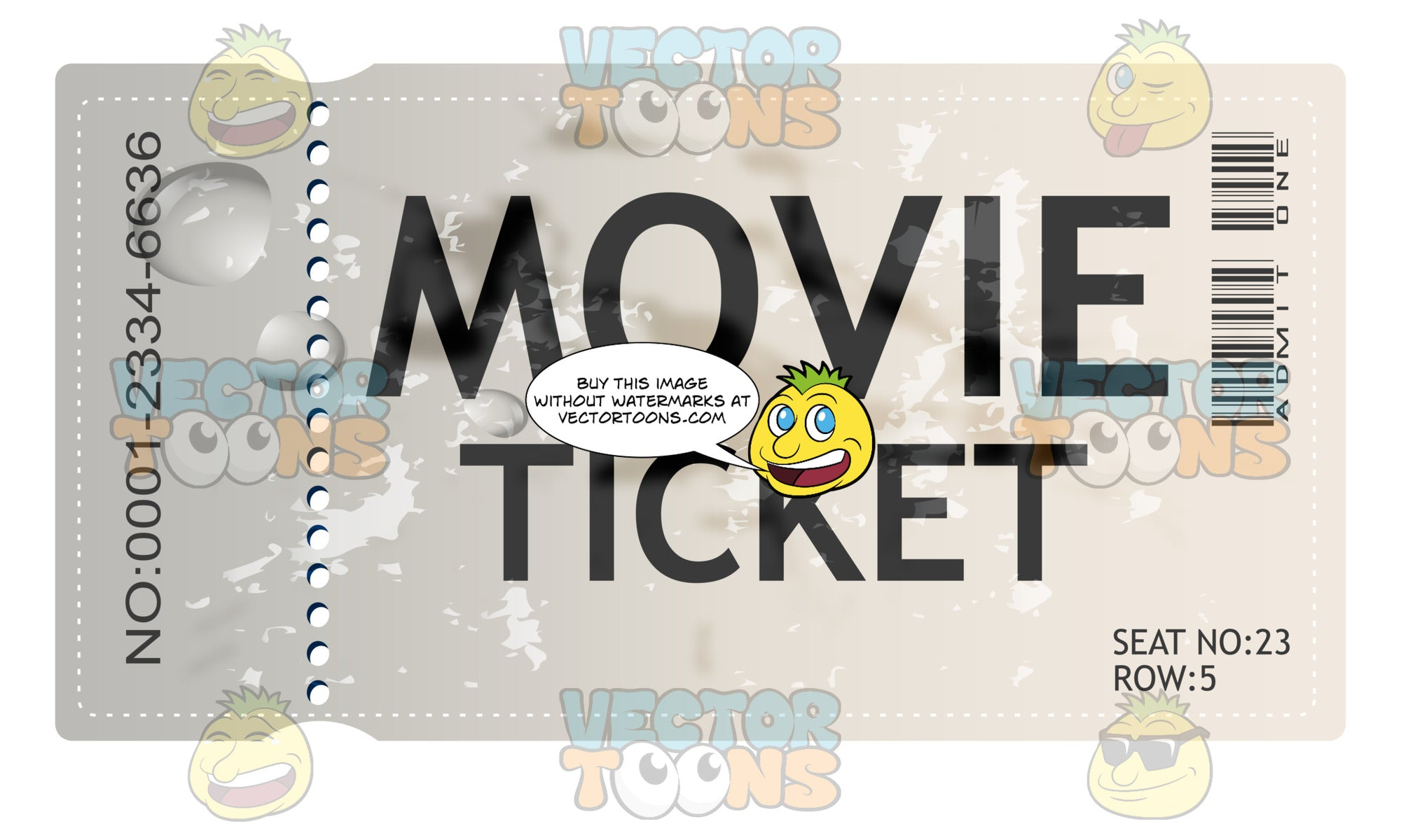 White Admit One Movie Ticket With Perforated Edge
