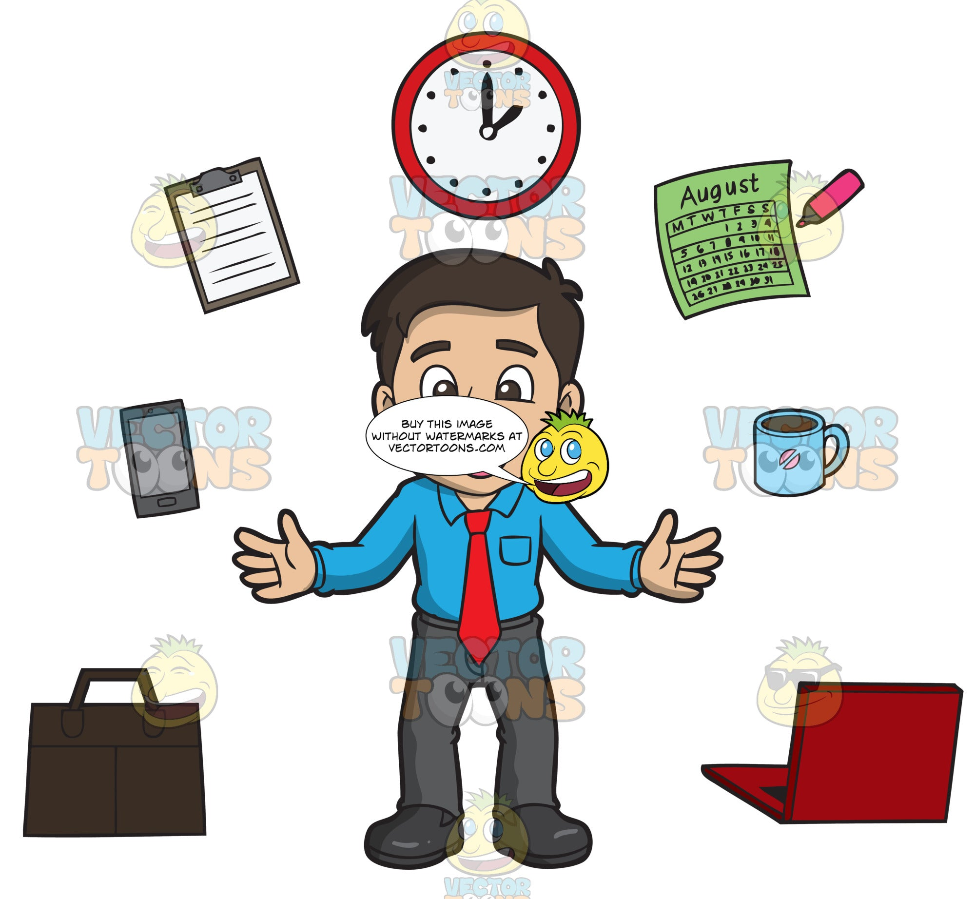 A Happy Man Managing His Work Time Well Clipart Cartoons By Vectortoons