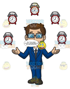 A Man Surrounded By Clocks